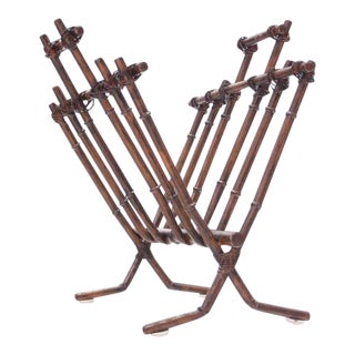 Vintage Faux Bamboo Magazine Rack For Sale