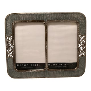 Gray Enamel & Rhinestone Double Picture Frame