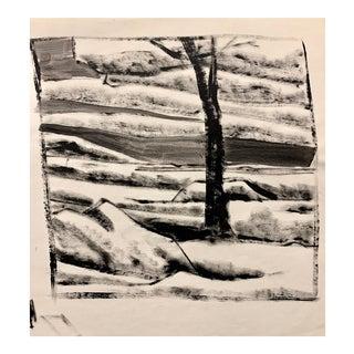 """Donald Stacy """"Landscape Wit Boulder"""" C.1950s Gouache Mid Century Landscape Painting For Sale"""