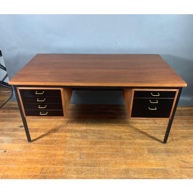 Mid-Century Teak & Black Lacquer 7-Drawer Desk For Sale - Image 4 of 11
