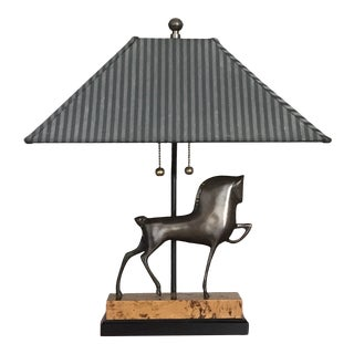 Frederick Cooper Mid Century Bronze Horse Lamp with Shade For Sale
