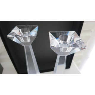 Pair of Table Top Crystal Clear Art Glass Candlestick Holders - by Movado Preview