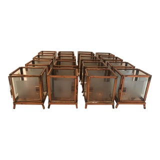 Copper and Frosted Glass Votives - Set of 16 For Sale