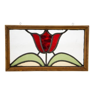 Arts and Crafts Tulip Motif Stained Glass Window For Sale
