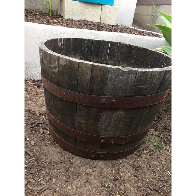 Oak Wine Barrel Half-Barrel Planter - Image 3 of 4