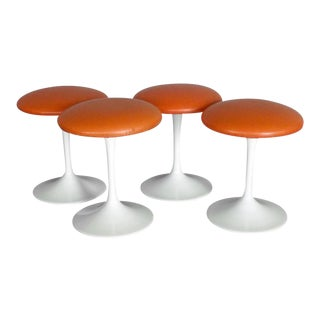 Set of Four Saarinen Style Tulip Swivel Stools For Sale