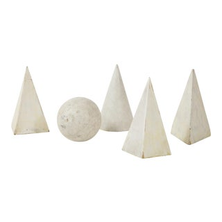 White Painted Wooden Geometric Molds - Set of 5 For Sale