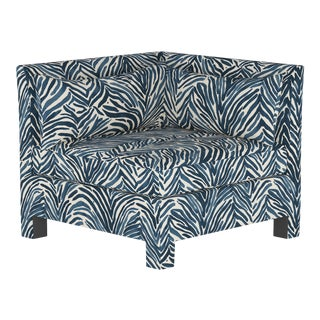 Washed Zebra Blue Corner Chair For Sale