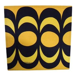 Vintage Mid Century Marimekko Modern Fabric Screen Print on Wood Stretcher For Sale