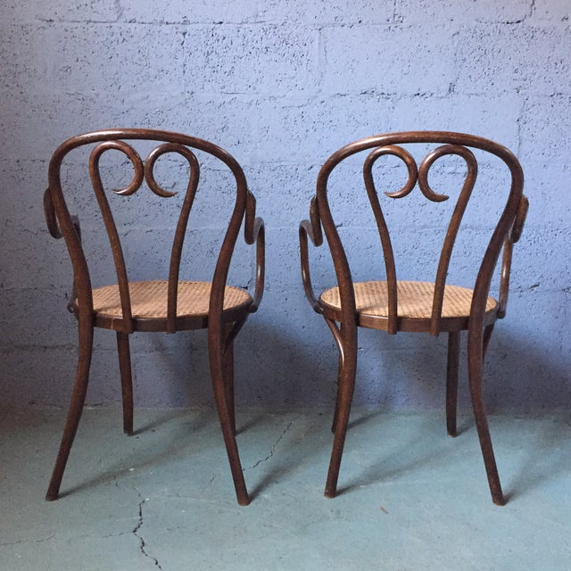 Thonet Bentwood Armchairs With Cane Seats - A Pair - Image 3 of 11