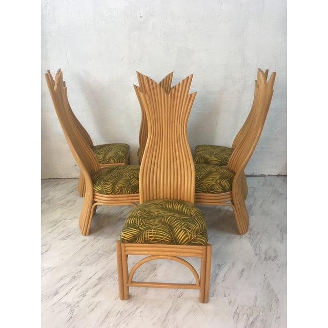 Boho Chic Rattan Dining Chairs, Set of Six For Sale - Image 3 of 10