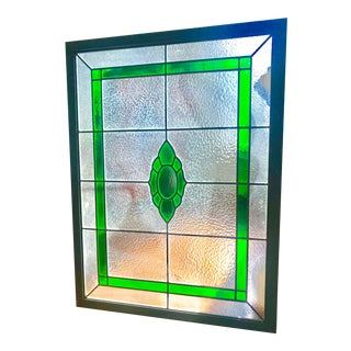 21st Century Bright Emerald Green and Clear Leaded Glass For Sale