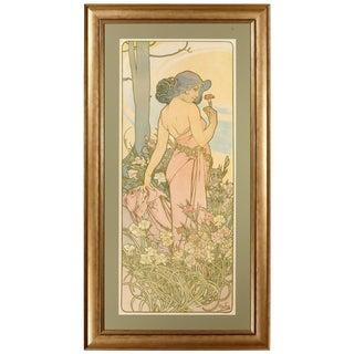 Late 19th Century Alphonse Mucha Carnation Art Nouveau Poster For Sale