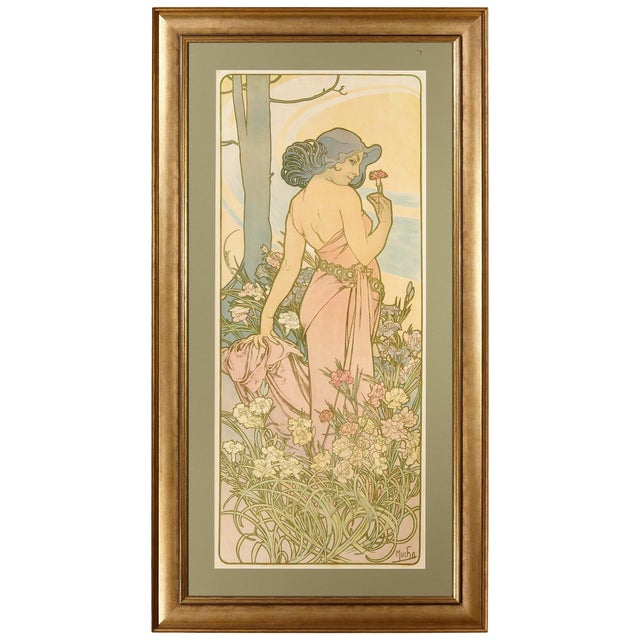 Late 19th Century Alphonse Mucha Carnation Art Nouveau Poster For Sale