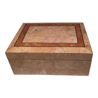 1980s Inlaid Stone Box For Sale