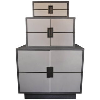 Stacked Grey and White Cabinet With Brass For Sale