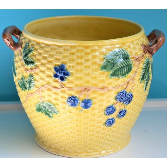 Vintage Tiffany & Co. Blonde Basket Weave Majolica Cache Pot For Sale In Houston - Image 6 of 8
