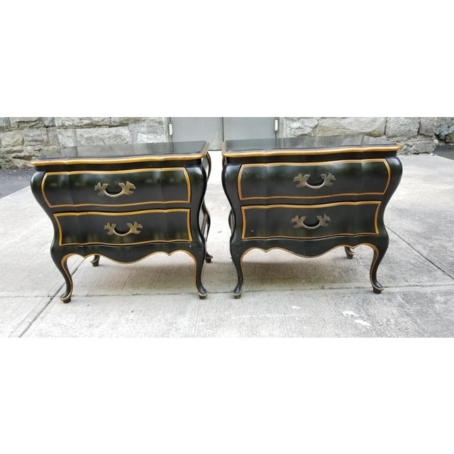 French Provincial Union National Furniture Co Vintage Bombay Style Night Stands-A Pair For Sale - Image 3 of 13
