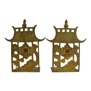 Chinese Brass Pagoda Bookends, Pair For Sale
