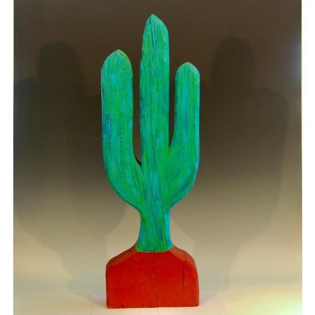 Vintage 1980s South Western Folk Art Painted Carved Wood Cactus Sculpture For Sale - Image 10 of 10