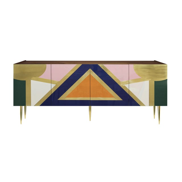 Handmade 'Yucatan' High Gloss Lacquered Wood and Brass Sideboard For Sale - Image 6 of 6