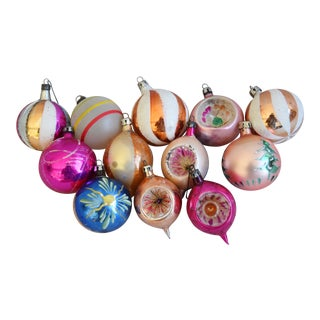 Fancy & Colorful Vintage Christmas Ornaments - Set of 12 For Sale