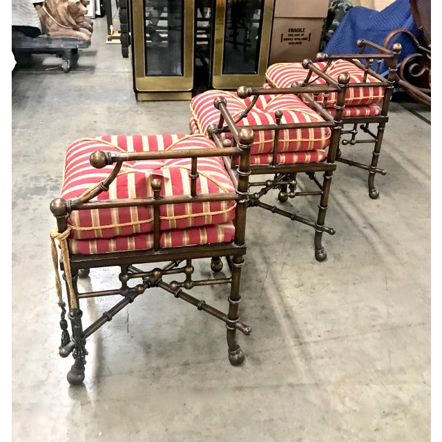 Red 1980s Vintage Faux Bamboo Iron and Brass Bench For Sale - Image 8 of 9