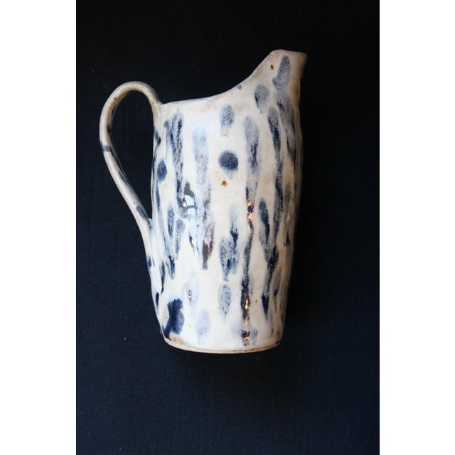 Abstract Handmade Blue & White Stoneware Pitcher For Sale - Image 11 of 11
