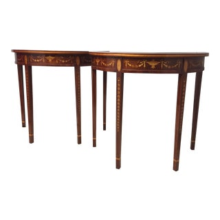 Mid-20th Century Neoclassical English Sheraton Inlay Console Tables - a Pair