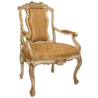 Carved Italian Sienna Distressed Gold Fabric Dining Arm Chair by Randy Esada Designs Inc For Sale