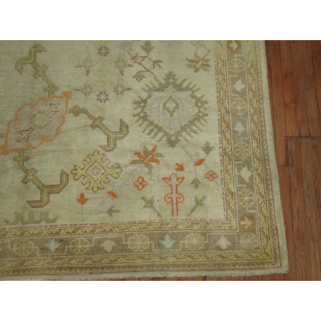 White Square Antique Ivory Field Oushak Rug, 7'5'' X 9' For Sale - Image 8 of 9