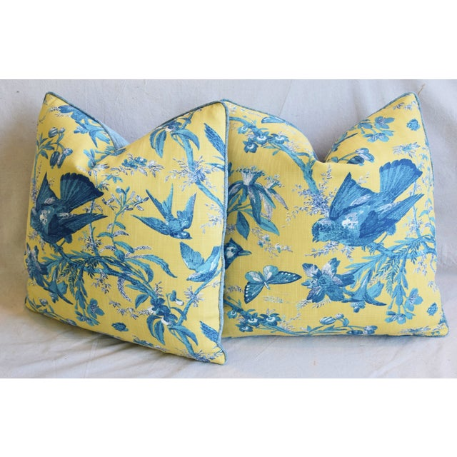 """Designer Blue & Yellow Bird and Butterflies Feather/Down Pillows 21"""" Square - Pair For Sale - Image 10 of 13"""