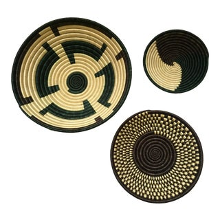 African Woven Baskets/Bowls - Set of 3 For Sale