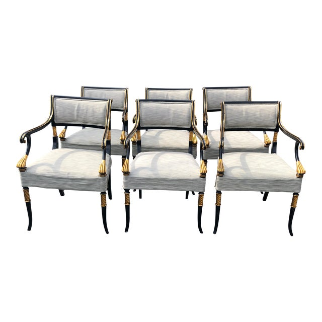 1990s Vintage Karges Regency Black and Gold Armchairs Dining Chairs- Set of 6 For Sale