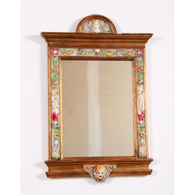Neoclassical Vintage Italian Gold Gilded Tiled Wall Mirror W/ Cherubs For Sale - Image 3 of 11