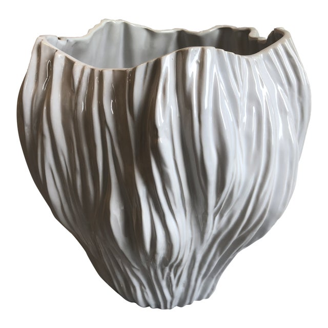 Contemporary Tozai Home Piriform White Ceramic Vase - Large For Sale