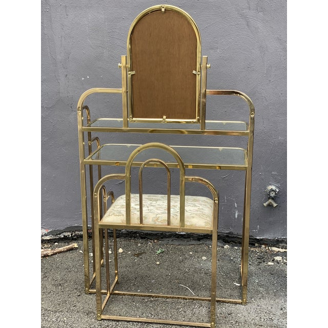 Mid Century Brass Vanity Table and Chair For Sale In Philadelphia - Image 6 of 13