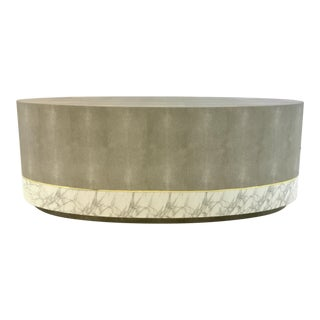 Made Goods Modern Gray Faux Shagreen Oval Emerson Coffee Table For Sale