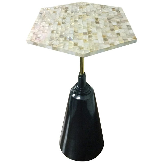 Mother-Of-Pearl & Metal Side Table - Image 2 of 6