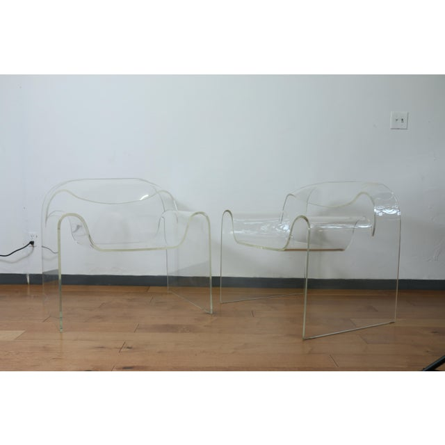 1960s Vintage Pair of Lucite Ribbon Style Lounge Chairs For Sale - Image 5 of 13
