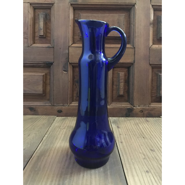 Contemporary Mid 20th Century Vintage Cobalt Blue Art Glass Pitcher Attributed to Wayne Husted of Blenko For Sale - Image 3 of 8