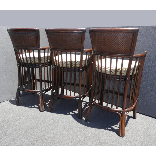 Vintage David Francis Tradewinds Tiki Palm Beach Rattan Bar Stools - Set of 3 For Sale In Los Angeles - Image 6 of 12