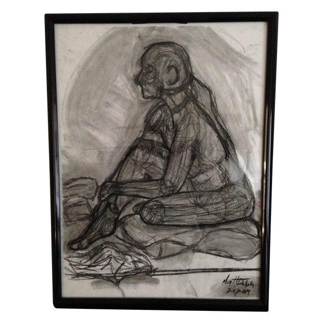 Original Framed Charcoal Nude Sketch - Image 1 of 4