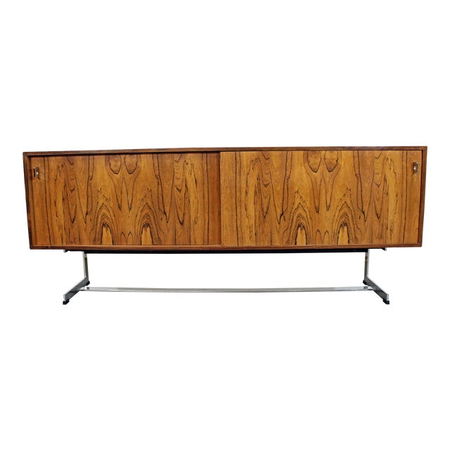 Mid-Century Modern Richard Young Merrow Assoc. Rosewood Chrome Credenza For Sale