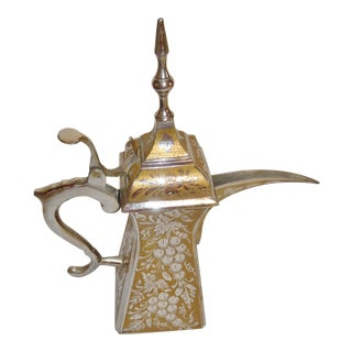 Arabic Dallah Silver and Gold Tone Brass Coffee Pot For Sale