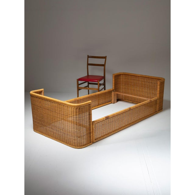 Pair of Single Bed Wicker Frame by Adalberto Dal Lago for Germa For Sale - Image 6 of 7