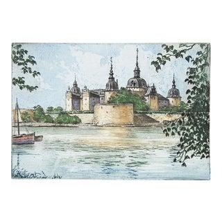 Mid 20th Century Etching Kalmar Sweden Castle For Sale