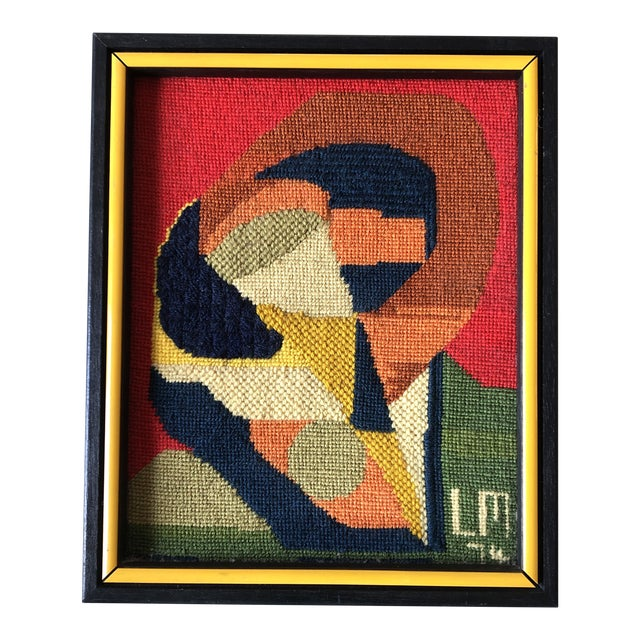 Original Vintage Hand Done Abstract Needlepoint 1974 Custom Frame For Sale