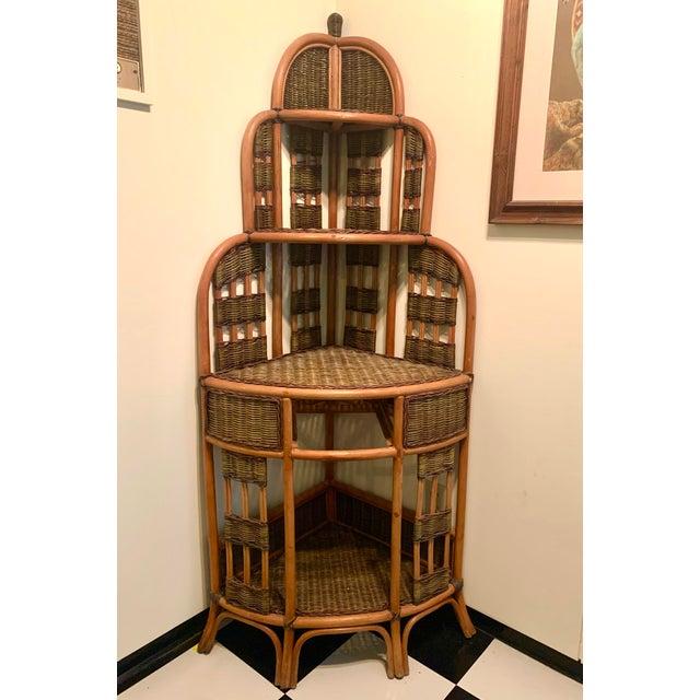Vintage Rattan Corner Cabinet For Sale - Image 11 of 11