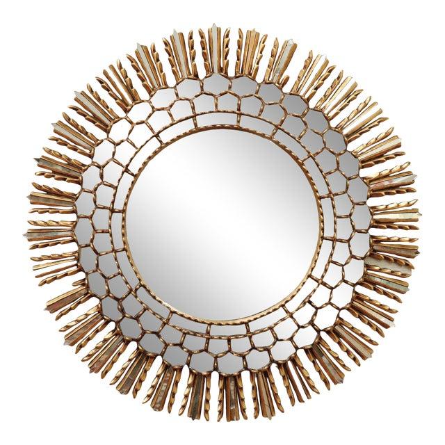 Mid Century Gilt Sunburst Mirror For Sale